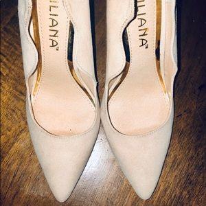 Liliana faux suede nude heels